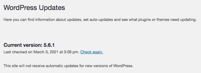 Check current version of WordPress