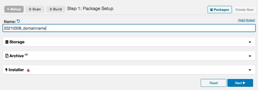 Create new package in duplicator