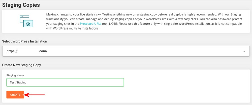 Create staging copies in SiteGround