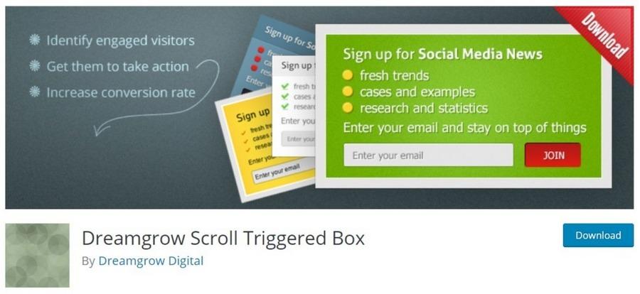 Dreamgrow Scroll Triggered Box WordPress plugin