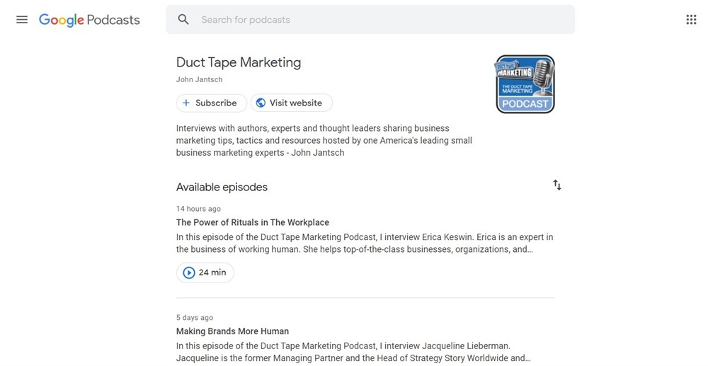 Duct Tape Marketing podcasts by google