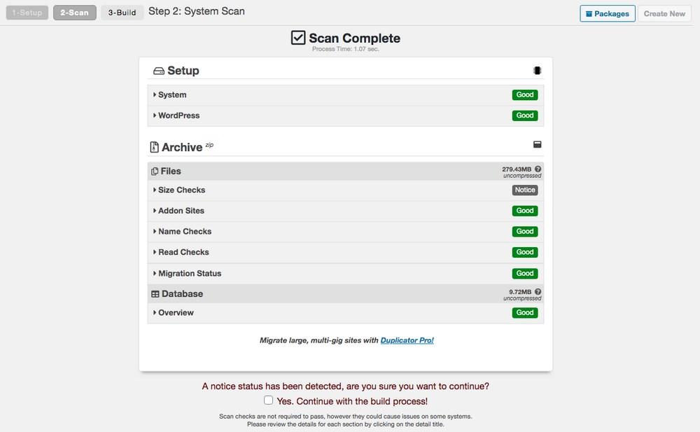 Duplicator scanning for WordPress backup