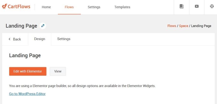 Edit CartFlows funnel page