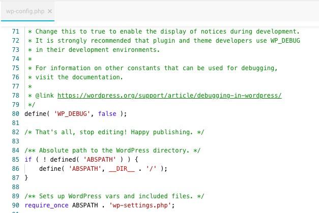 編輯wp-config文件