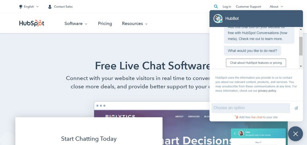 Free Live Chat Software HubSpot