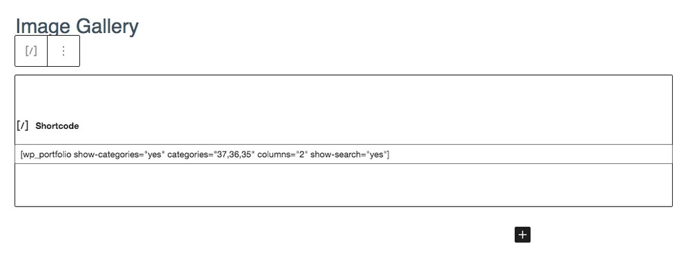 Insert WP portfolio shortcode