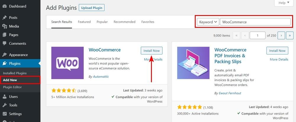 Install WooCommerce from WordPress