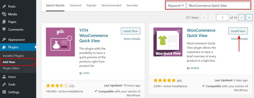 Install WooCommerce quick view plugin