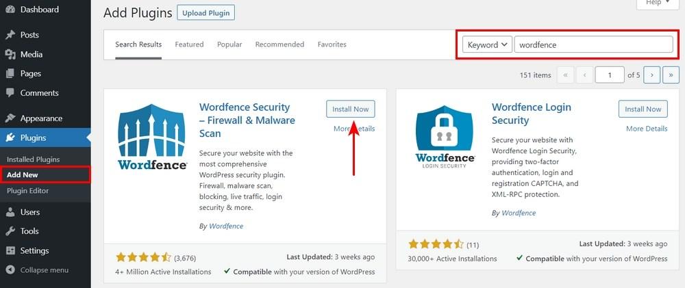 Install Wordfence plugin
