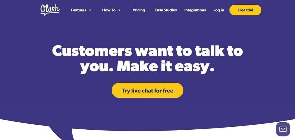 Olark live chat homepage