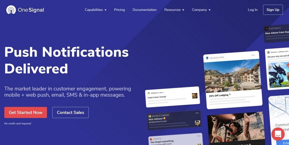 OneSignal homepage