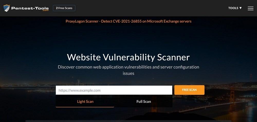 Pentest-Tools website vulnerability scanner