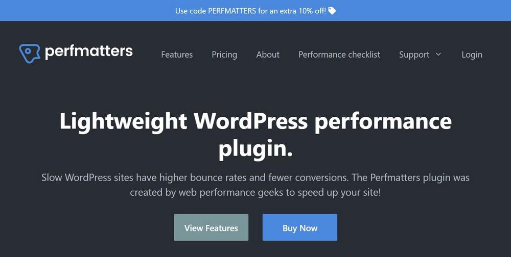 Perfmatters homepage