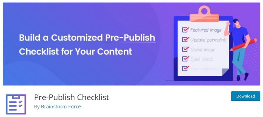 Pre-Publish Checklist WordPress plugin