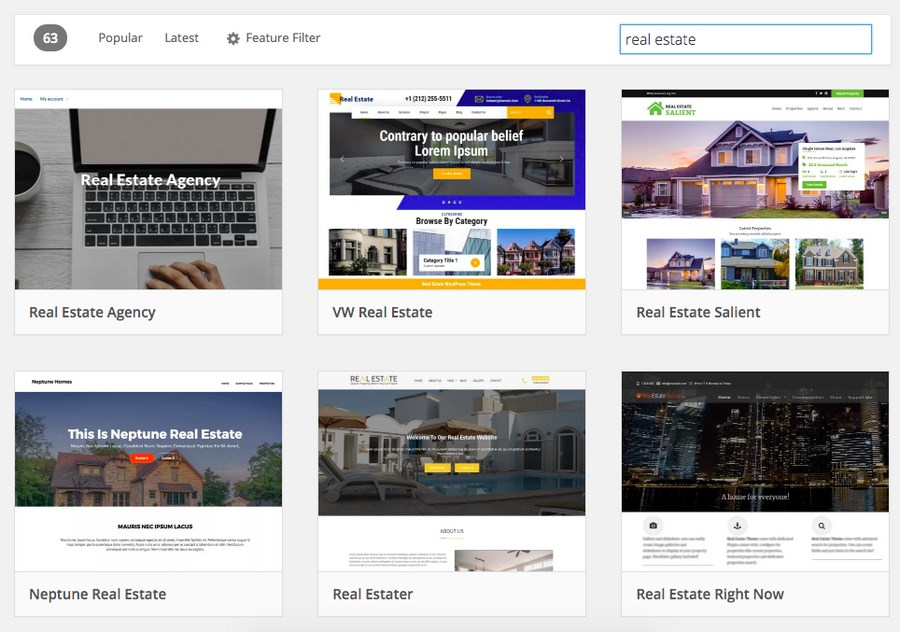 Real estate themes on WordPress