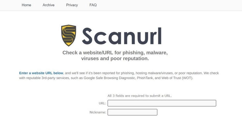 ScanURL malware scanner