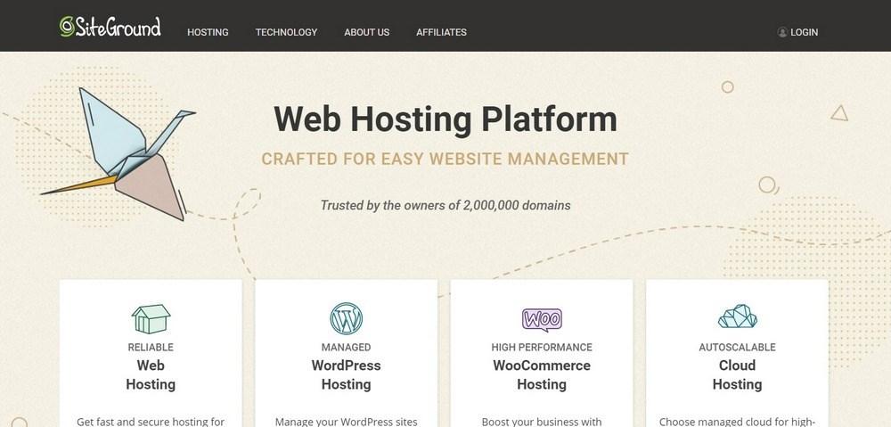 SiteGround hosting homepage