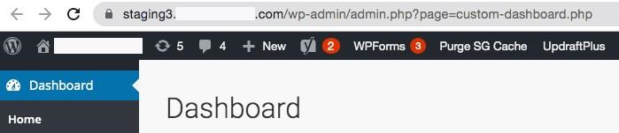 Staging WordPress dashboard