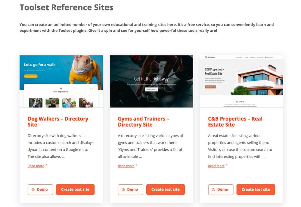 Toolset demo sites