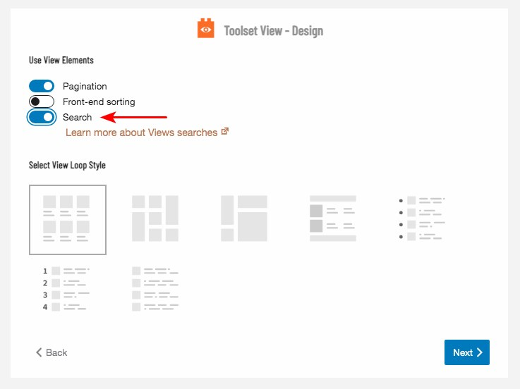 Toolset view design, select search