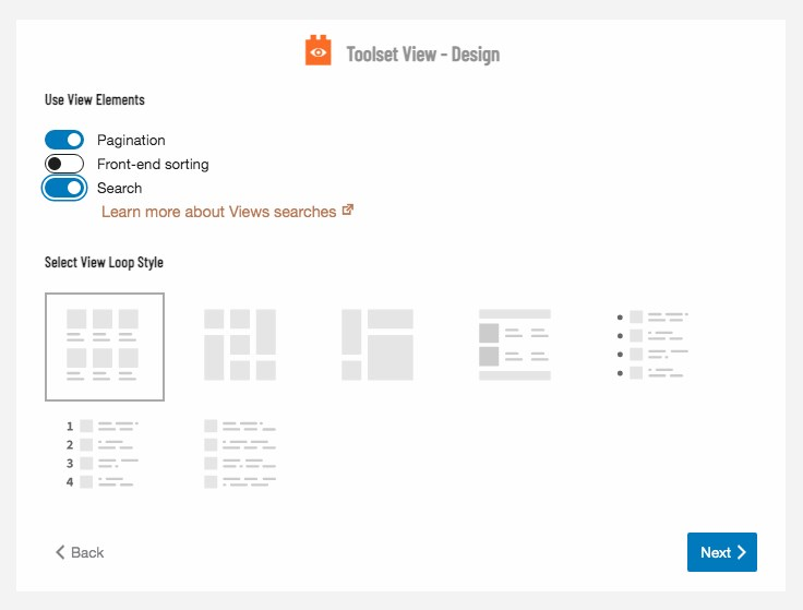 Toolset view design