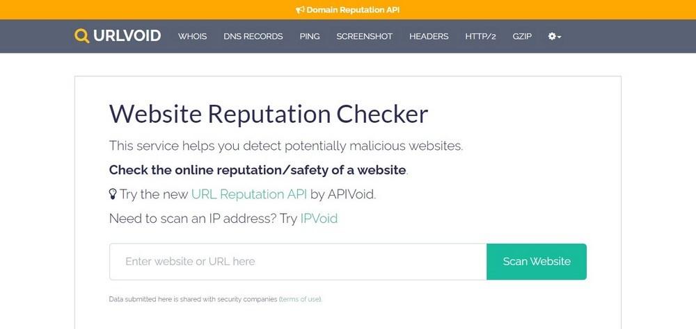 URLVoid website
