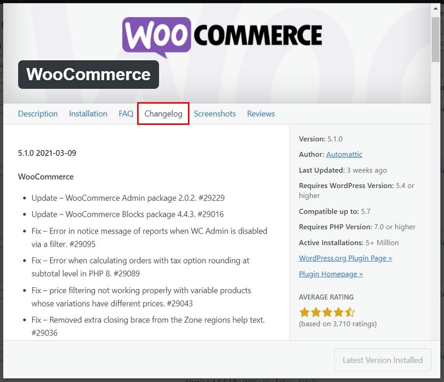View plugin changelog in WordPress dashboard