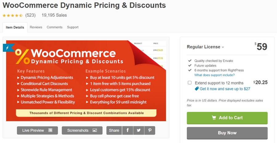 WooCommerce Dynamic Pricing & Discounts codecanyon