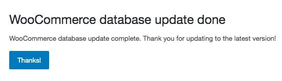 WooCommerce database update done notification