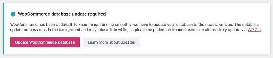 WooCommerce database update notification