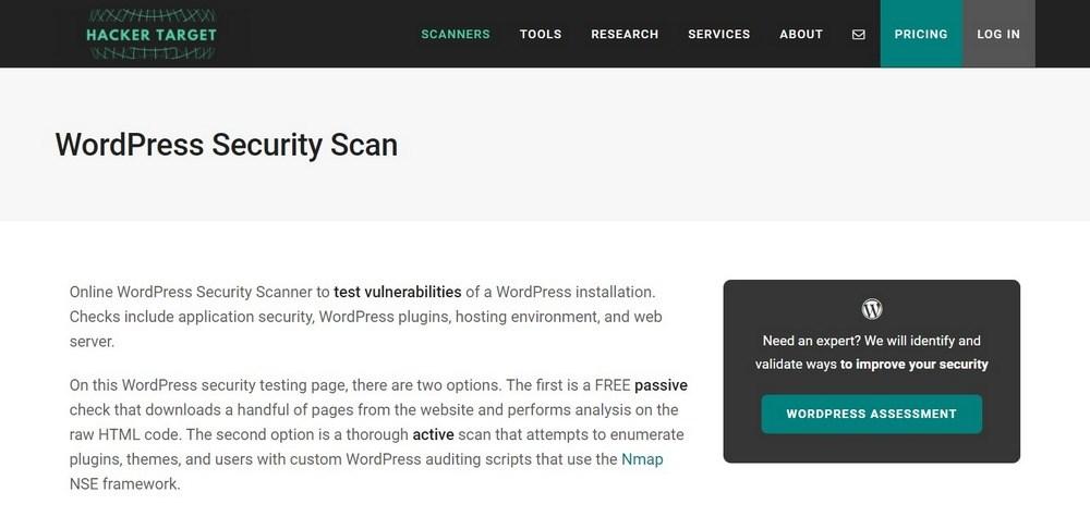 WordPress Security Scan website