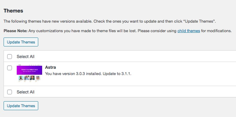 WordPress available update
