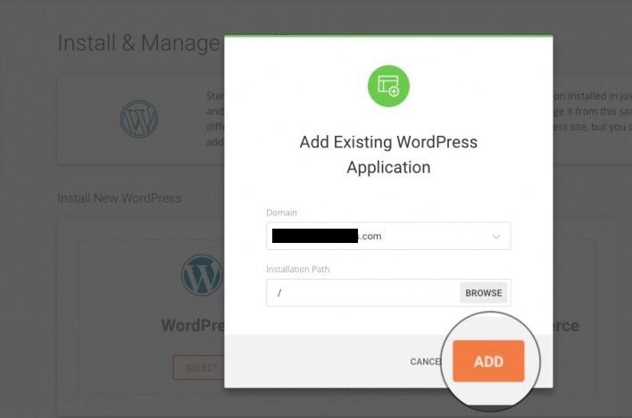 add existing WordPress application
