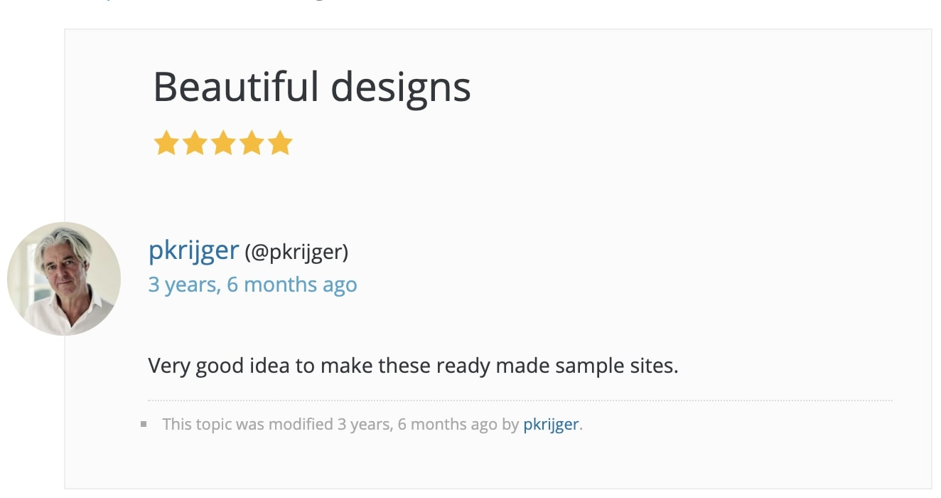 Starter Templates - Users positive review