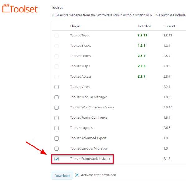 install toolset Framework installer