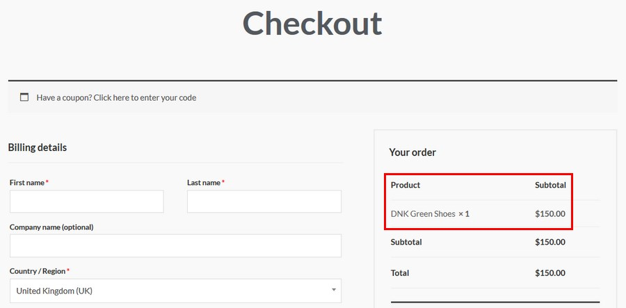 product under your order