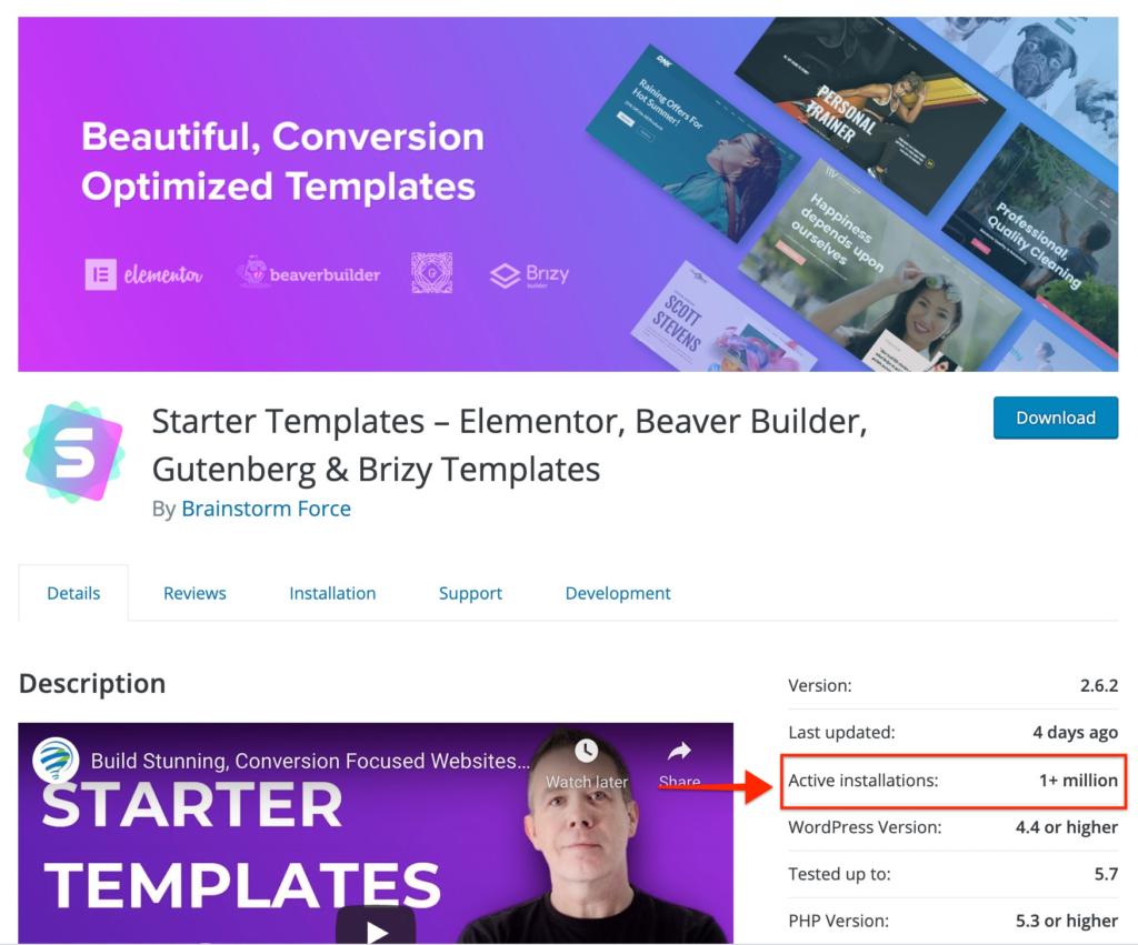 Starter Templates 1 Million Active Installas