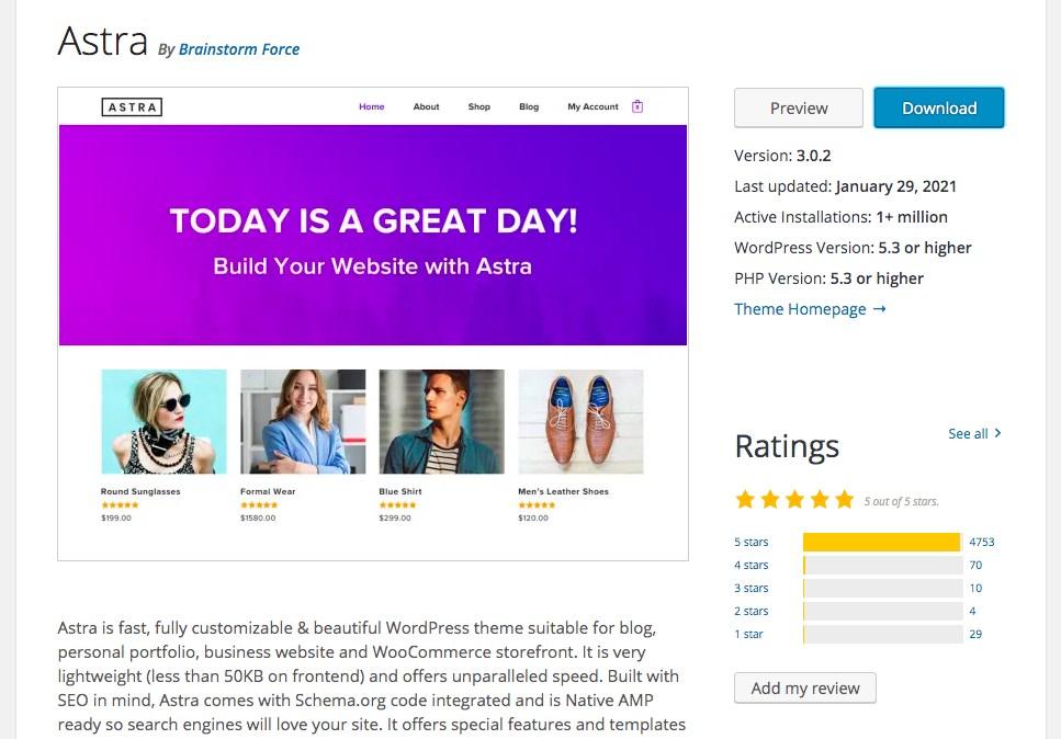 Astra theme on WordPress