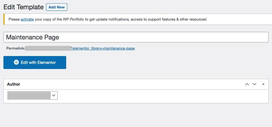 Create new maintenance page