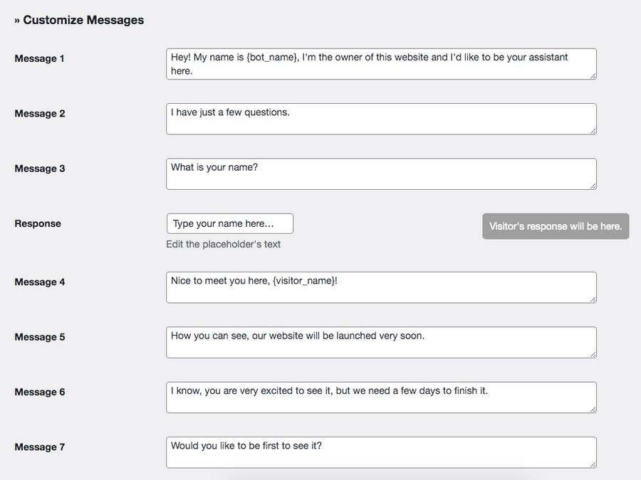 Customize messages settings