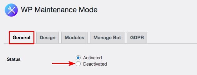 Deactivate WP maintenance mode