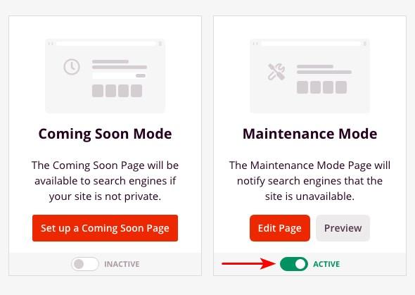 Deactivate maintenance mode Seedprod