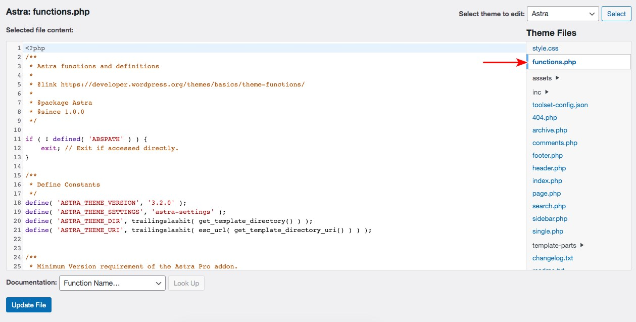 Edit function php file using theme editor