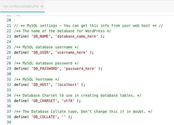 Edit wp-config file