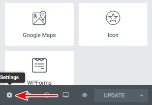 Elementor page settings