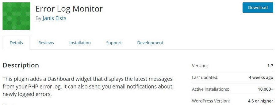 Error Log Monitor WordPress plugin