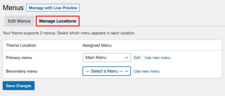 Manage menu location