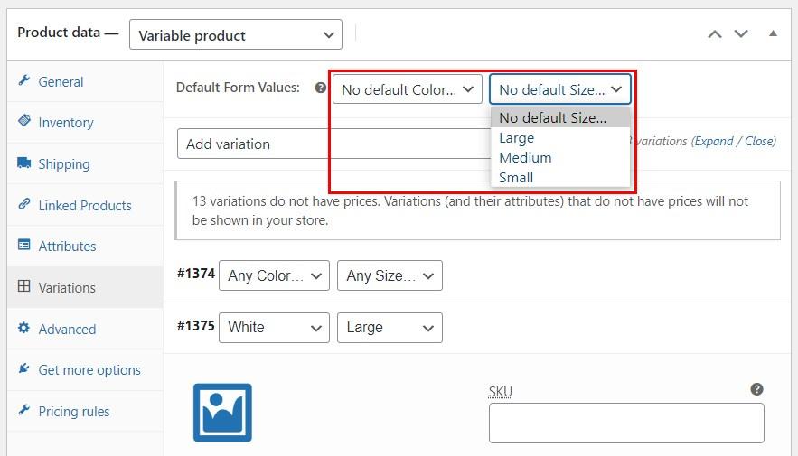 Product variation default values