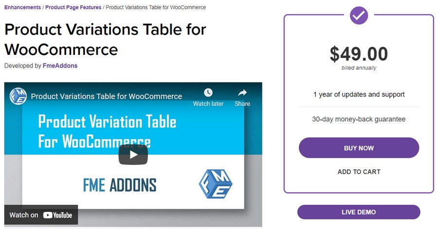 Product variation table for WooCommerce plugin