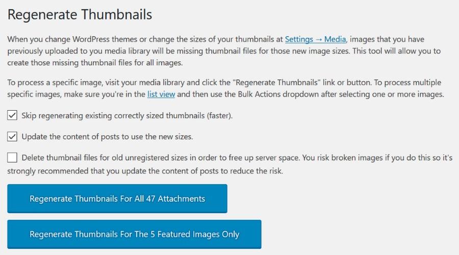 Regenerate WordPress thumbnails